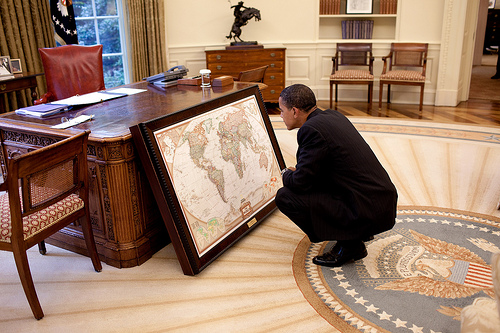 Obama With Map